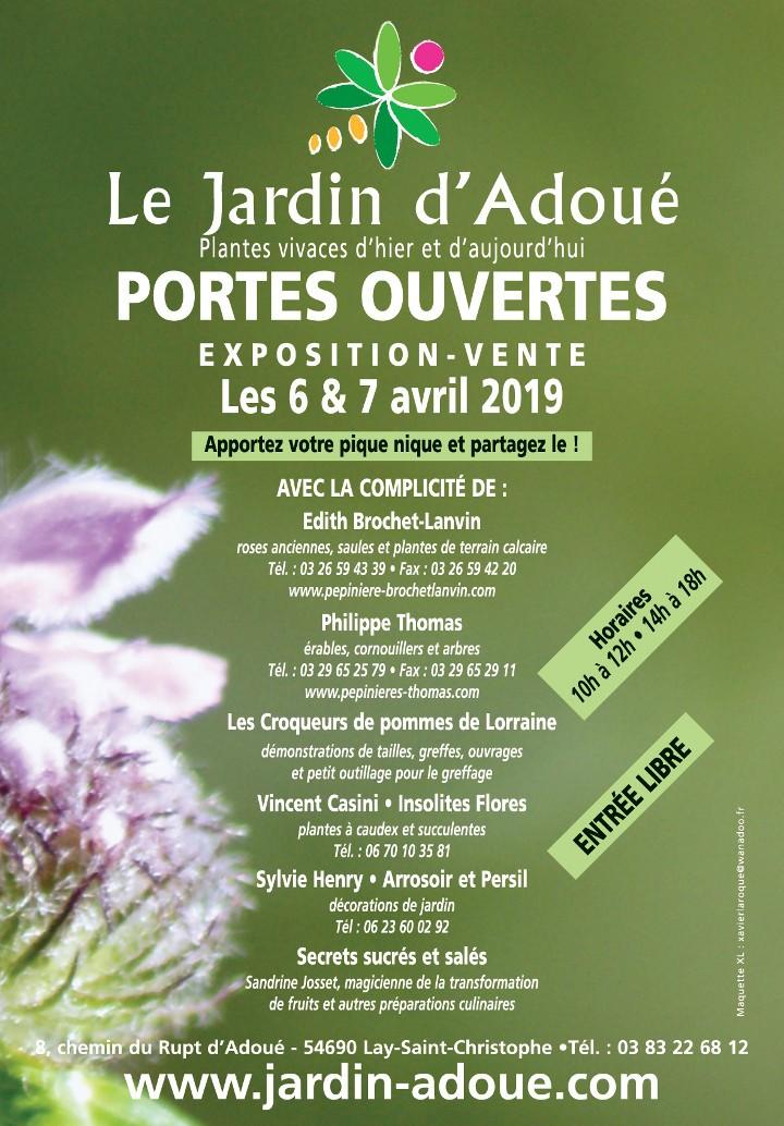 Journées portes ouvertes les 6 et 7 avril 2019 au jardin d'Adoué